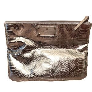 Kate Spade Makeup Bag Clutch Silver Snakeskin